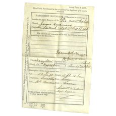 Vintage Parchment Paper Recruiting Agents Certificate Scottish Rifles