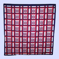 A Lovely Vintage Patriotic Red White and Blue Designer Signed Lillian Vernon Scarf
