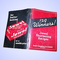 129 Winners ! Jewel Shortening Recipes Advertising Cook Book