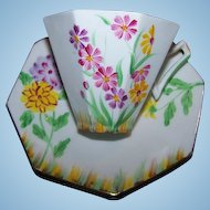 Pretty Hand Painted Vintage Tea Cup & Saucer Floral Motif Melba England