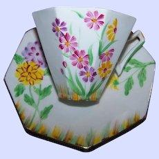 Pretty Hand Painted Vintage Tea Cup & Saucer Floral Motif Melba England