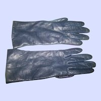 Gently Used Vintage Navy Blue Ladies Leather Gloves from EATON