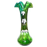 Pontil Green Uranium Glass Vase Hand Painted Enamel  Floral Motif Glows Under UV Black Lite