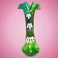 Pontil Green Uranium Glass Vase Hand Painted Enamel  Floral Motif Glows Under UV Black Lite