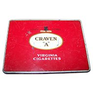 "Vintage Craven ""A"" Cork Tipped Finest Tobacco Advertising Tin"