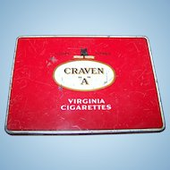 """Vintage Craven """"A"""" Cork Tipped Finest Tobacco Advertising Tin"""