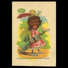 """Small Early Black Americana Playing Card """" Cantaloupe Melon , The Coachman's Daughter"""