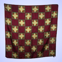 Wearable Art Large Philadelphia Museum of Art Folk Art Graphic Star Pattern Silk Scarf