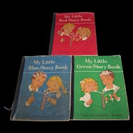 Three Vintage Paper Back School Readers My Little Red  Green Blue Story Book