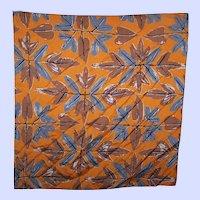 Vintage Vera Neumann Machine Stitched  Edge Branch Leaf Fall  Themed Scarf Napkin Handkerchief