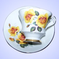 What A Pretty Yellow Rose Floral Tea Cup Saucer Set