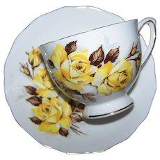 Yellow Rose Floral Tea Cup Saucer Set Colclough Made in England
