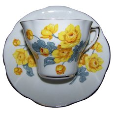 Pretty Vintage Yellow Floral  Flower Themed  Tea Cup Saucer Set CLARE