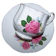 Pretty Pink Rose Floral Motif Tea Cup Saucer Set Royal Dover