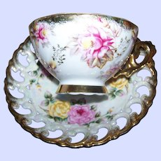 Pretty Red Red Yellow Roses Lustre Ware Pierced Reticulated Teacup /  Tea Cup Saucer Set Shafford