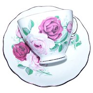 Wonderful Vintage Red Pink Rose Floral Tea Cup Saucer Set Royal Vale  MIE
