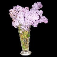 A Lovely Vintage Deco Style Faceted  Glass Vase