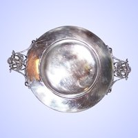 An Odd Vintage Silverplate Dish  Ornate Portrait Face  Handles UNIQUE Home Decor Accent