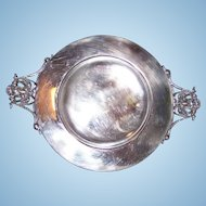 An Odd Vintage Silverplate Dish  Ornate Portrait Face  Handles UNIQUE Home Decor Accent