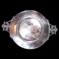 An Odd Vintage Silverplate Dish  Ornate Portrait Face  Handles UNIQUE
