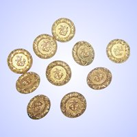 Ten / Vintage Tin Metalware  Buttons Featuring Embossed Anchor Anchors
