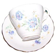 Lovely Consort  Fine Bone China  Floral Tea Cup Saucer Set Blue Dianthus Floral