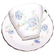 Lovely Consort  Fine Bone China  Floral Tea Cup Saucer Set Blue Dianthus Floral