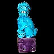 Small Vintage Turquoise Blue   Ceramic Figural Foo Lion Fu Dog Figurine Statue