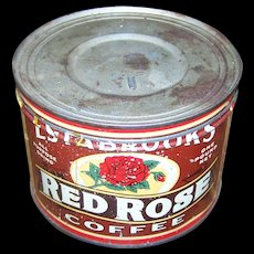 Estabrooks Red Rose Advertising Coffee Tin Can Saint John New Brunswick