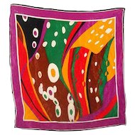 WOW A Bright And Colorful Vintage Pop Art Silk Scarf  Wearable ART