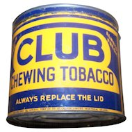 Collectible Vintage  Canadian Tin Litho Advertising  Tobacco Tin CLUB