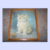 Framed Kitty Cat Kitten Print Signed Florence Kroger