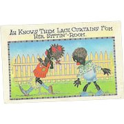 """Comical Black Americana Linen Post Card Postcard  """" AH Knows The Lace Curtains """""""