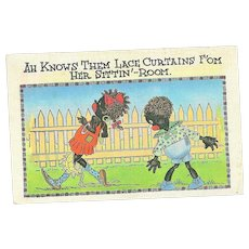 "Comical Black Americana Linen Post Card Postcard  "" AH Knows The Lace Curtains """