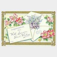 Vintage Good Wishes  Postcard Post Card  Floral Swaztika Ancient Cross