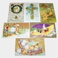 Lot of 6 Vintage Easter Post Cards Postcards Golden Gilt Decoration