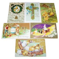 Lot of 6 Vintage Easter Post Cards Postcards Golden Gilt Decoration