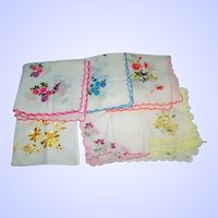 Lot of 9 Vintage Hankie / Handkerchief Flower Floral Motif