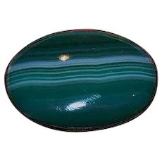 Vintage Green Banded Agate Pin / Brooch Stamped Sterling
