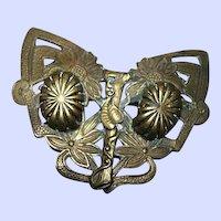 Unique Vintage Art Nouveau Style Brass Butterfly Style Sash Pin Floral Motif