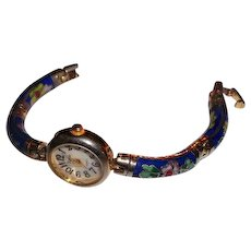 Cloisonne Watch Band Floral Motif Blue Ground AS IS Watch does not WORK