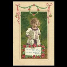 A Charming Vintage Embossed Post Card Good Wishes Roses Little Child Germany