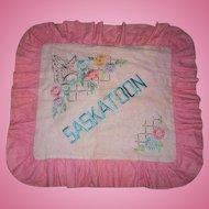 Vintage Deco Era Memento Souvenir Emboridery Pillow Case SASKATOON