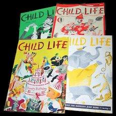 "Charming Lot of  Four  Vintage Children's Magazines "" Child Life """