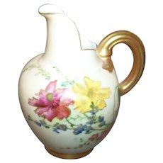 Vintage Blush Ivory  ROYAL WORCESTER  1094 Porcelain Flat Back  Ewer Hand Painted Floral Motif