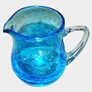 Hand Blown Pontil Artist Signed  Blue Bullicante MANGANESE GLASS Controlled Bubbles Art Glass Pitcher