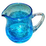 Hand Blown Pontil Artist Signed  Blue Bullicante MANGANESE GLASS Controlled Bubbles Art Glass Pitcher