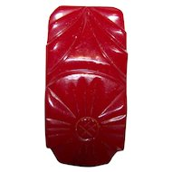 Deep Carved Floral Motif Cherry Red Bakelite Clip