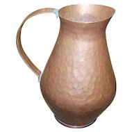 Vintage Hammered Vintage Metal Ware Copper Jug Pitcher