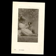 "Charming Real Photo Post Card "" Say Please ""  Little Girl and Puppy Dog Bamford & Co."